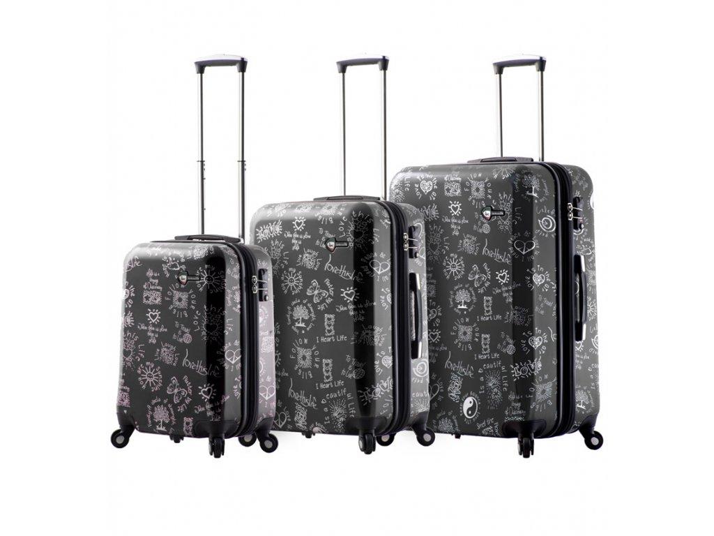 Sada cestovních kufrů MIA TORO M1089/3 - černá  + LED svítilna