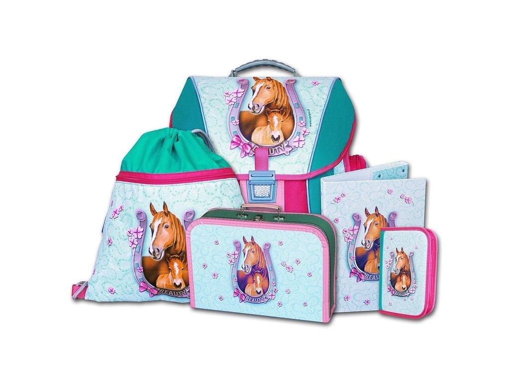 Školní batohový set Beauty 5-dílný  + LED svítilna