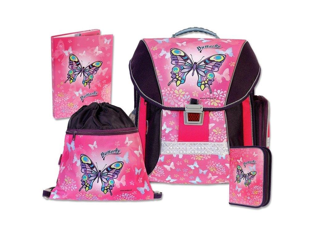 Školní batohový set Butterfly 4-dílný  + LED svítilna
