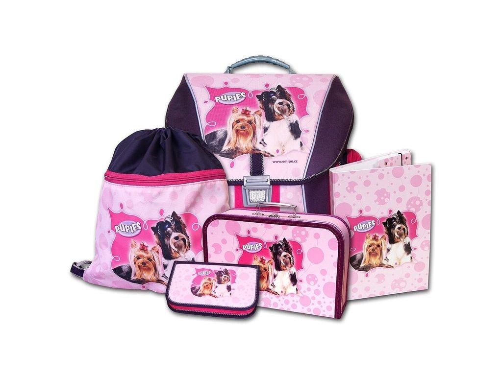 Školní batohový set Pupies 5-dílný  + LED svítilna