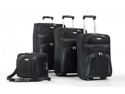 Travelite Orlando S,M,L – sada 3 kufrů + Boarding Bag Black  + LED svítilna