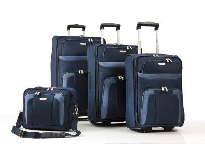 Travelite Orlando S,M,L – sada 3 kufrů + Boarding Bag Navy  + LED svítilna