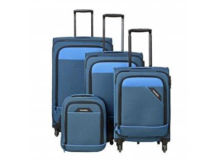 Travelite Derby 4w S,M,L Blue – sada 3 kufrů + Board Bag  + LED svítilna