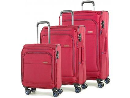 Sada cestovních kufrů ROCK TR-0162/3 - červená  + LED svítilna
