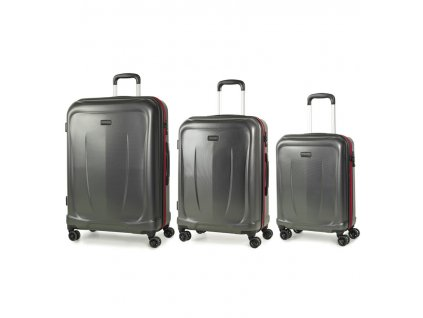 Sada cestovních kufrů ROCK TR-0165/3 ABS - charcoal  + LED svítilna