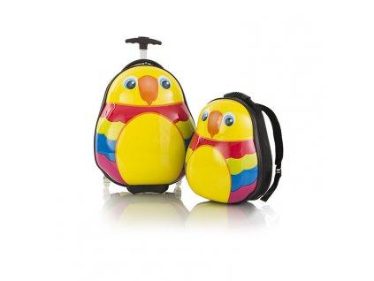 Heys Travel Tots Lightweight Kids Parrot – sada batohu a kufru  + LED svítilna