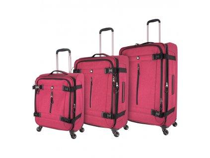 Sada cestovních kufrů MIA TORO M1135/3 - červená  + LED svítilna
