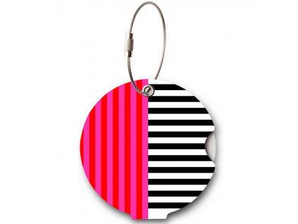 Jmenovka na kufr Addatag - Multi Stripes Pink