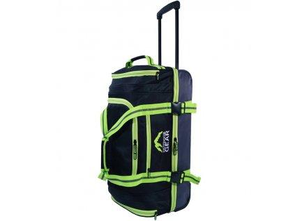 """Cestovní taška na kolečkách GEAR T-805/26"""" - černá/zelená  + LED svítilna"""
