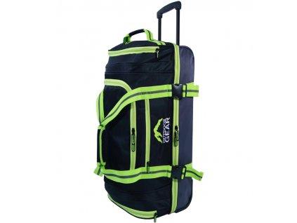"""Cestovní taška na kolečkách GEAR T-805/30"""" - černá/zelená  + LED svítilna"""