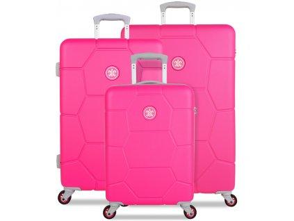 Sada cestovních kufrů SUITSUIT® TR-1248/3 ABS Caretta Hot Pink  + LED svítilna