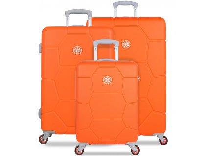 Sada cestovních kufrů SUITSUIT® TR-1249/3 ABS Caretta Vibrant Orange  + LED svítilna