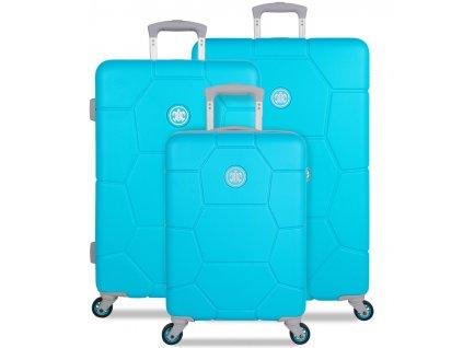 Sada cestovních kufrů SUITSUIT® TR-1250/3 ABS Caretta Peppy Blue  + LED svítilna