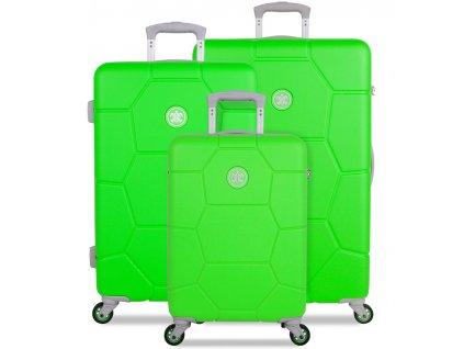Sada cestovních kufrů SUITSUIT® TR-1251/3 ABS Caretta Active Green  + LED svítilna