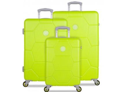 Sada cestovních kufrů SUITSUIT® TR-1252/3 ABS Caretta Sparkling Yellow  + LED svítilna