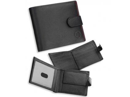 Pánská kožená peněženka METRO MTB06 - černá/červená