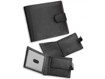 Pánská kožená peněženka METRO MTB06 - černá/oranžová