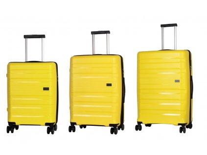 Travelite Kosmos 4w S,M,L Yellow – sada 3 kufrů  + Sluchátka, myš nebo pouzdro