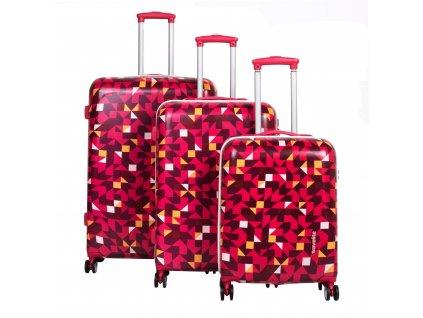 Travelite Campus Hardshell S,M,L Quadro pink – sada 3 kufrů