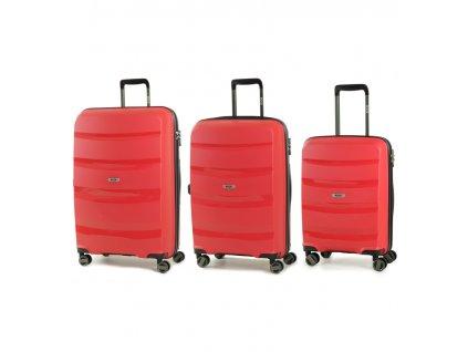 Sada cestovních kufrů ROCK TR-0174/3 PP - červená  + Sluchátka, myš nebo pouzdro