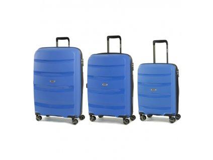 Sada cestovních kufrů ROCK TR-0174/3 PP - modrá  + Sluchátka, myš nebo pouzdro