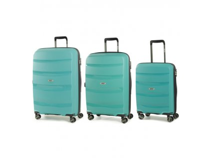 Sada cestovních kufrů ROCK TR-0174/3 PP - zelená  + LED svítilna