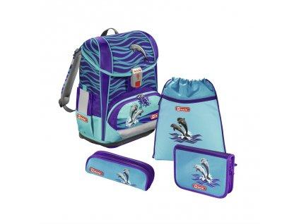 Školní aktovka LIGHT 2 pro prvňáčky - 4-dílný set, Step by Step Delfíni, certifikát AGR  + Sluchátka, myš nebo pouzdro