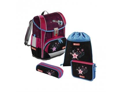 Školní aktovka LIGHT 2 pro prvňáčky - 4-dílný set, Step by Step Popstar, certifikát AGR  + Sluchátka, myš nebo pouzdro