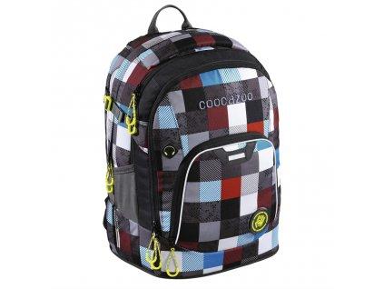 Školní batoh Coocazoo RayDay, Checkmate Blue Red  + LED svítilna