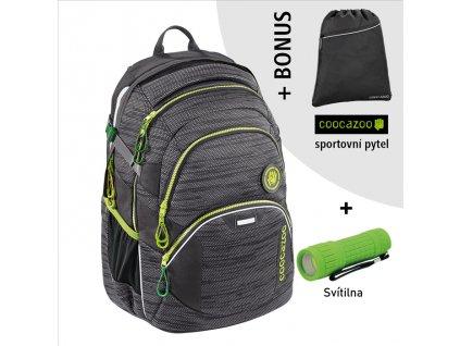 Školní batoh Coocazoo JobJobber2, Black Knit  + LED svítilna + sportovní pytel