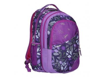Studentský batoh 2v1 DANIEL Peace purple  + LED čelová svítilna