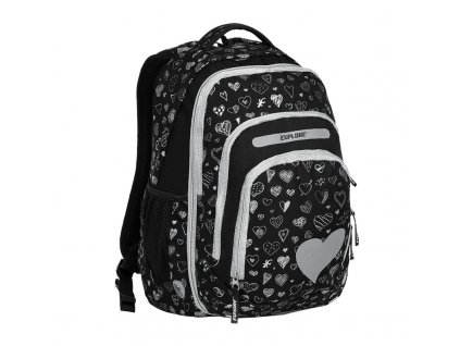 Školní batoh 2v1 BAR Black Hearts  + LED svítilna