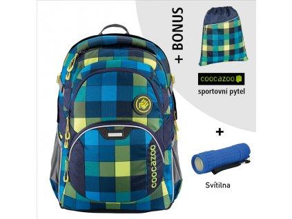 Školní batoh Coocazoo JobJobber2, Lime District  + LED svítilna + sportovní pytel