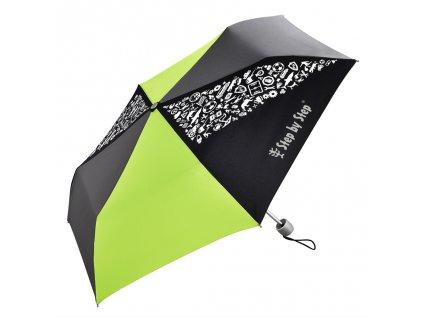 Dětský skládací deštník, černá/ šedá/ zelená