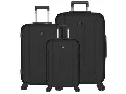Sada cestovních kufrů SIROCCO T-1177/3 ABS - černá  + LED svítilna