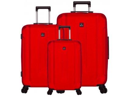 Sada cestovních kufrů SIROCCO T-1177/3 ABS - červená  + LED svítilna