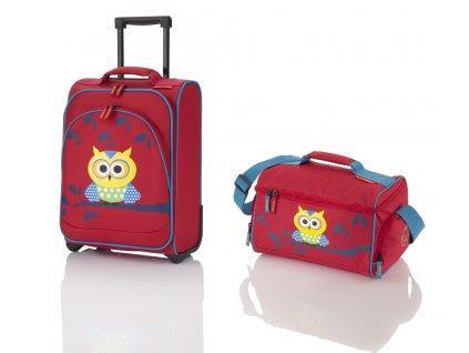 Travelite Youngster – dětská sada kufru a cestovní tašky Owl  + LED svítilna