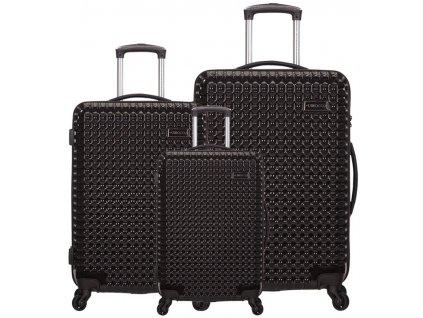 Sada cestovních kufrů SIROCCO T-1195/3 PC - černá  + LED svítilna