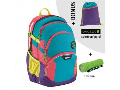 Školní batoh Coocazoo JobJobber2, Holiman  + LED svítilna + sportovní pytel