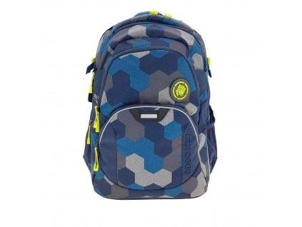 Školní batoh Coocazoo JobJobber2, Blue Geometr  + LED svítilna + sportovní pytel