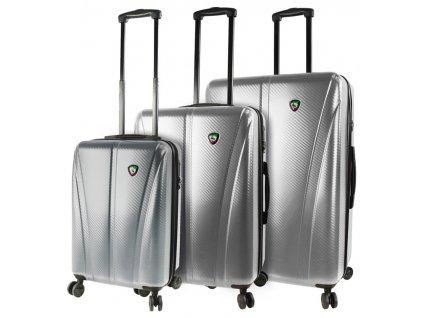 Sada cestovních kufrů MIA TORO M1238/3 - stříbrná  + LED svítilna