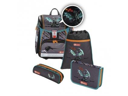 Školní aktovka - 4-dílný set, Step by Step Flash blikačka Drak, certifikát AGR  + LED svítilna