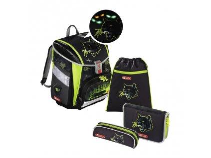 Školní aktovka - 4-dílný set, Step by Step Flash blikačka Černý panter, certifikát AGR  + 5 % sleva po registraci + LED svítilna
