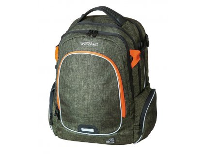 Studentský batoh WIZZARD Olive  + LED svítilna