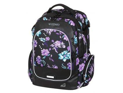 Studentský batoh WIZZARD Flower Violet  + LED svítilna