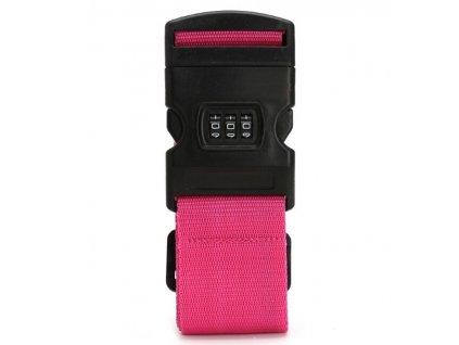 Bezpečnostní popruh na kufr s kódovým zámkem Bordlite WBAC02 - růžová