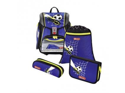 Školní aktovka TOUCH2 pro prvňáčky - 4-dílný set, Step by Step Fotbal, certifikát AGR  + LED čelová svítilna