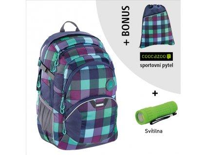 Školní batoh Coocazoo JobJobber2, Green Purple District  + LED svítilna + sportovní pytel