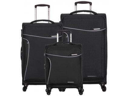 Sada cestovních kufrů SIROCCO T-1201/3 - černá  + LED svítilna