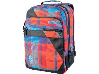 NITRO batoh LOCK plaid red-blue  + Sluchátka, myš nebo pouzdro